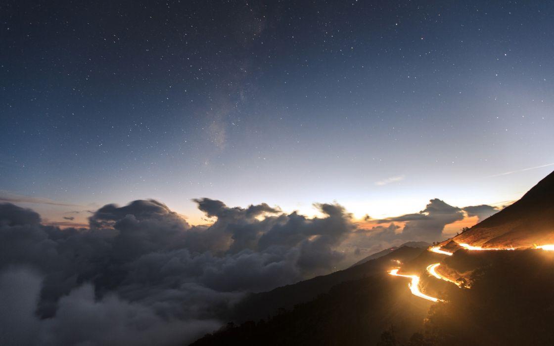 nature landscapes sky clouds stars sunset sunrise traffic timelapse wallpaper