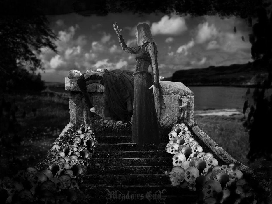 dark horror gothic skulls women witch cg digital art manip wallpaper