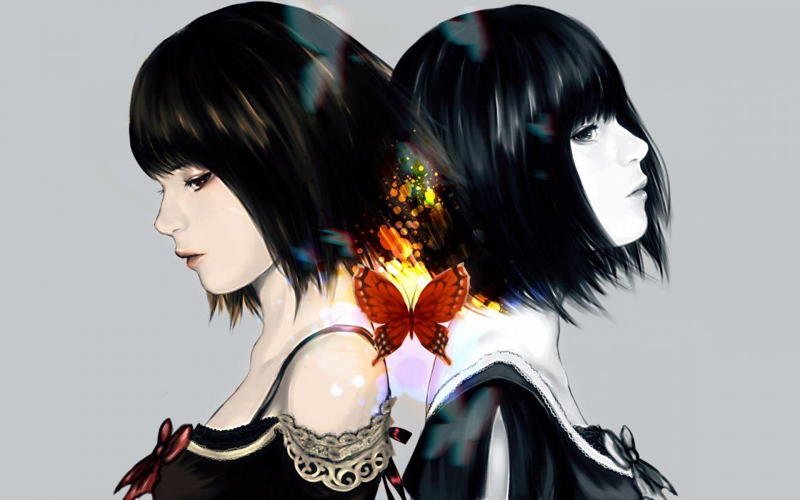 original anime girl magic butterfly brunettes babes fantasy girl wallpaper