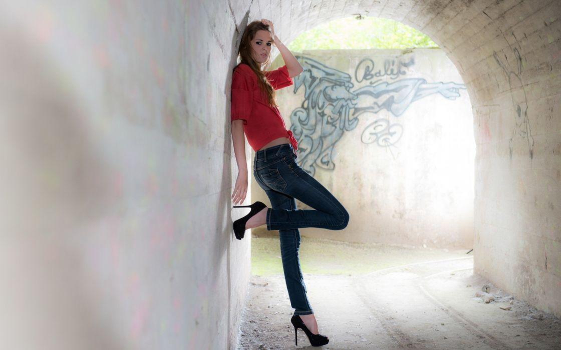 Dani Strejc women fashion glamour models brunettes sexy babes jeans tunnel wallpaper