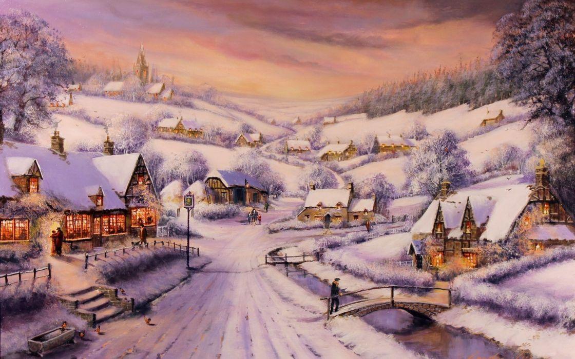 Gordon Lees art paintings christmas snow houses rustic people town wallpaper
