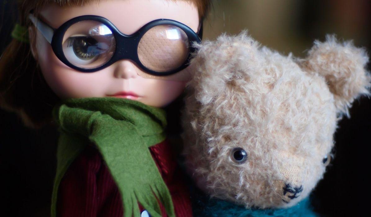 toys dolls face teddy bear glasses children wallpaper