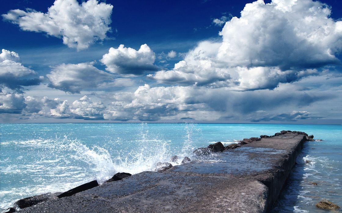 dock pier ocean sea sky clouds waves wallpaper