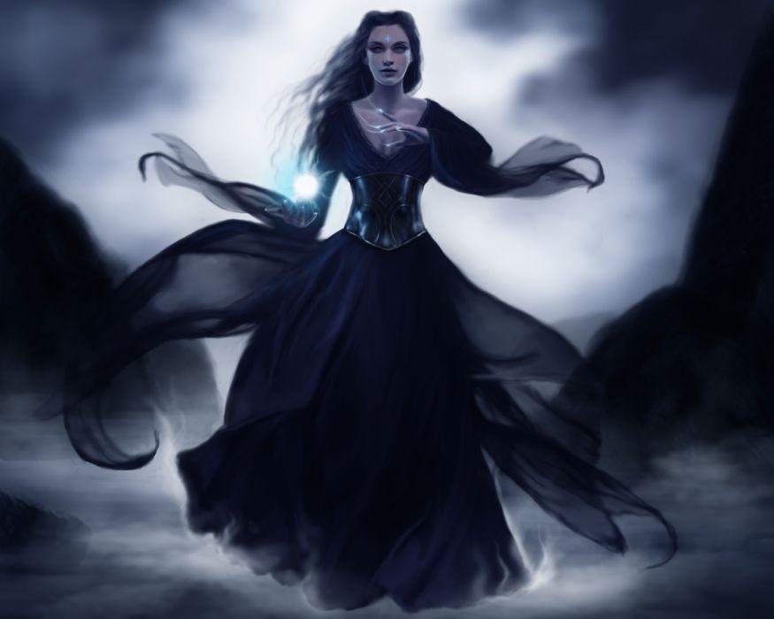 dark horror gothic fantasy art witch magic women girl gown occult wallpaper