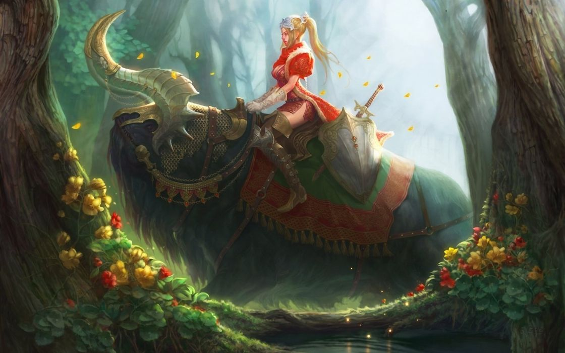 Fantasy Art Girl Warrior Weapons Swords Creatures Forest