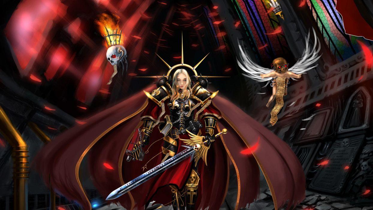 Warhammer 40k sci fi science fantasy warriors weapons sword armor dark skulls angels evil wallpaper