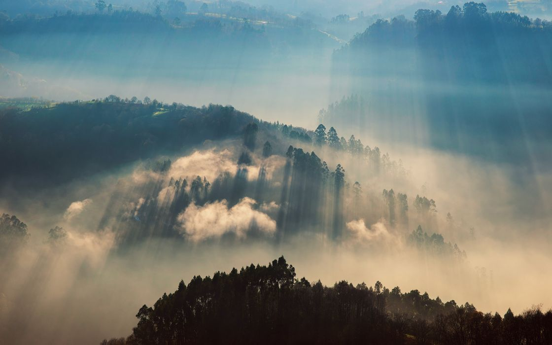 landscapes hills fog autumn fall sunlight filtered beams rays wallpaper