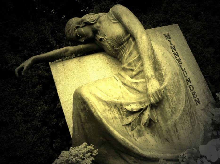 cemetery grave monument statue gothic dark women girl mood emotion sad sorrow wallpaper