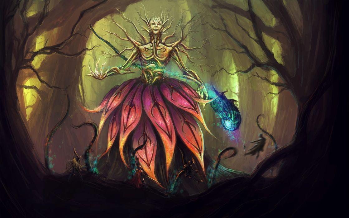 fantasy art magic god forest trees supernatural wallpaper