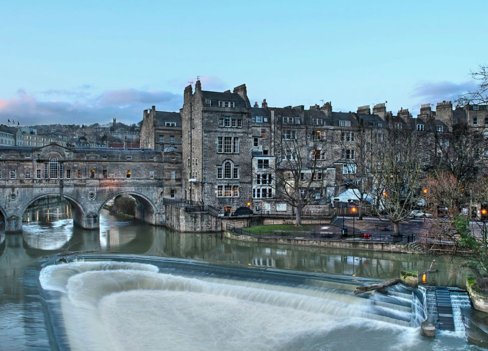 Bridges Rivers Houses England Pulteney Bridge Bath HDR wallpaper