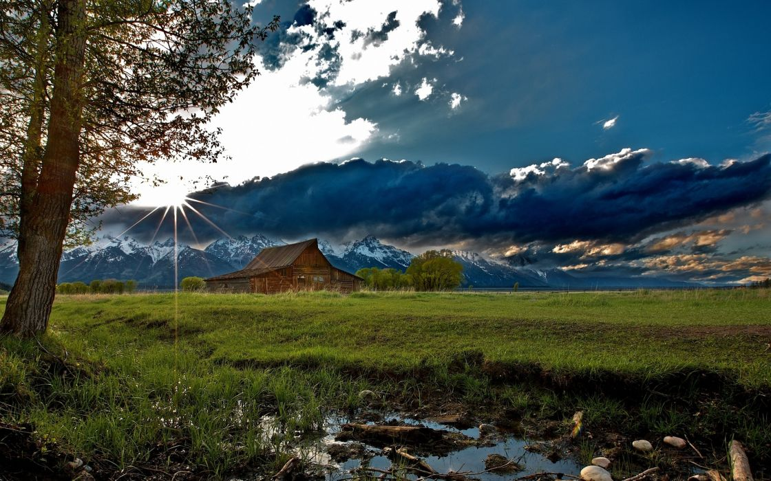 nature landscapes rustic mountains sky clouds sunrise sunset trees barn farm wallpaper