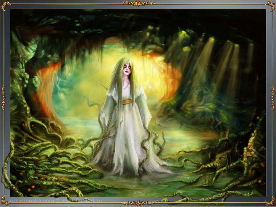 Inessa Kir'yanova women art horror trees forest gothic wallpaper