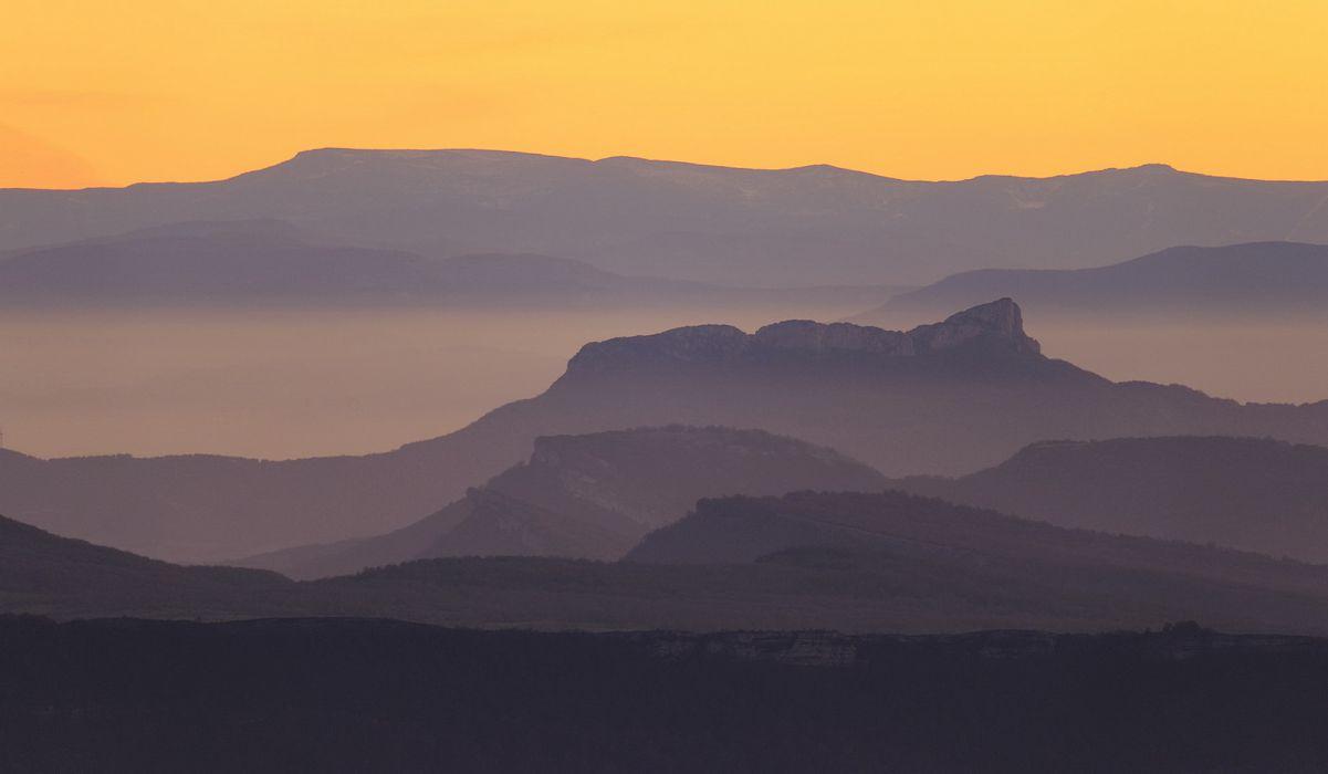 landscapes sunset sunrise fog haze sky wallpaper