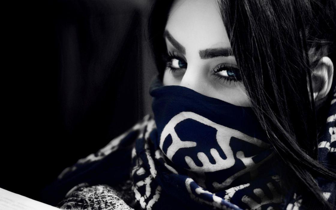 Armenia Ann mask face eyes pov gothic models selective wallpaper