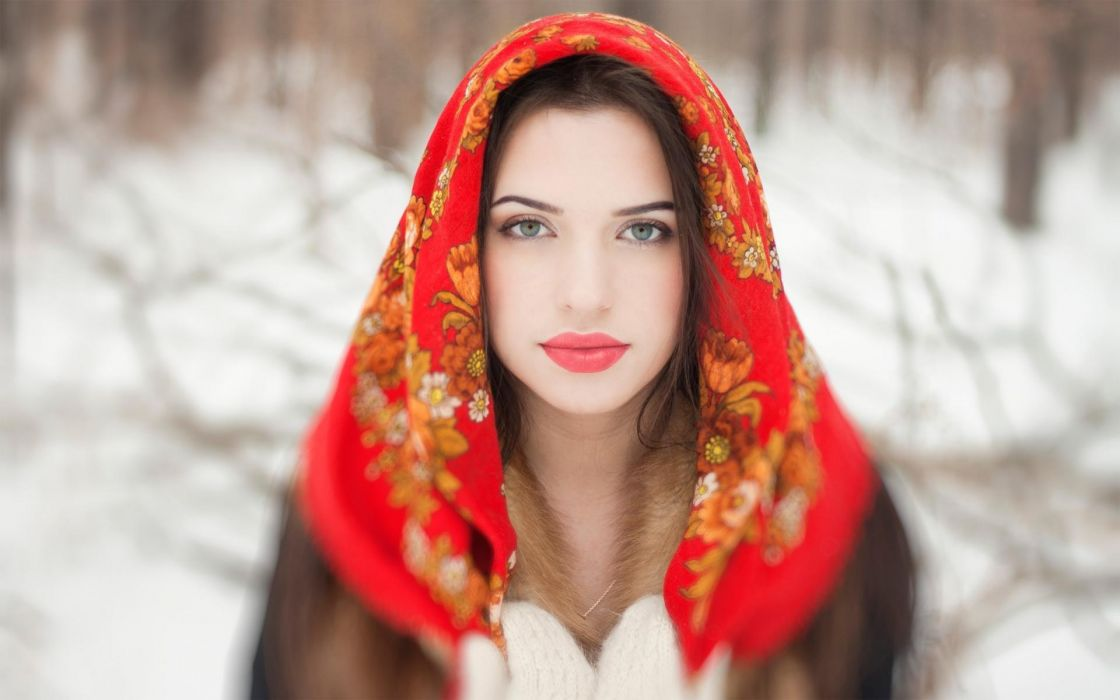 women winter models face eyes pov scarf style babes wallpaper