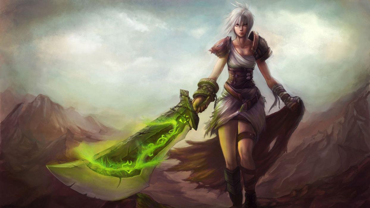 League of Legends fantasy warrior weapons sword girl wallpaper