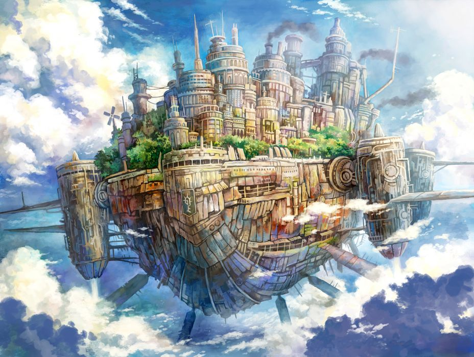 kemi neko original fantasy cities castle sky island clouds fly wallpaper