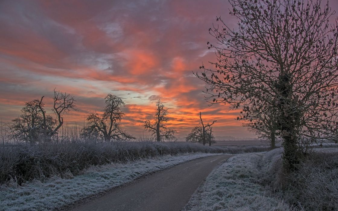 landscapes winter snow sky clouds sunset sunrise wallpaper