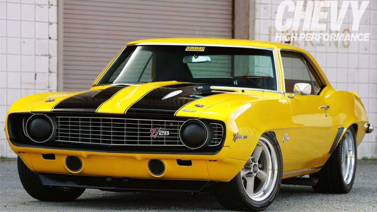 1969 Yellow 302 Z28 Camaro muscle cars classic wallpaper