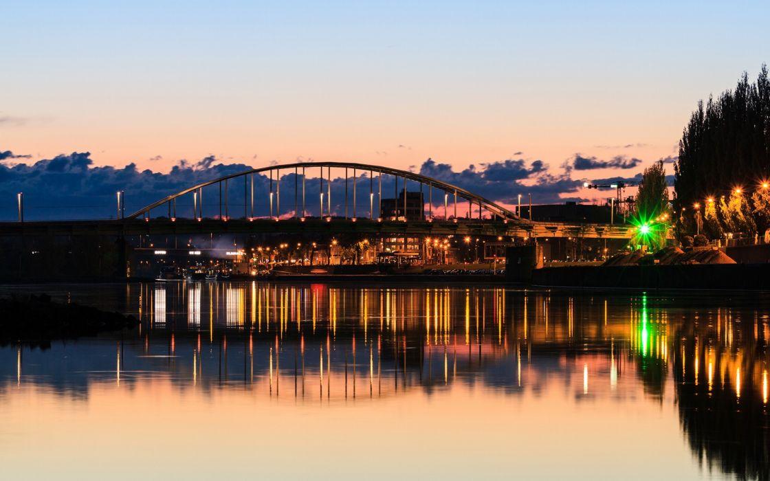 Rotterdam bridges cities rivers reflection lights hdr sky wallpaper