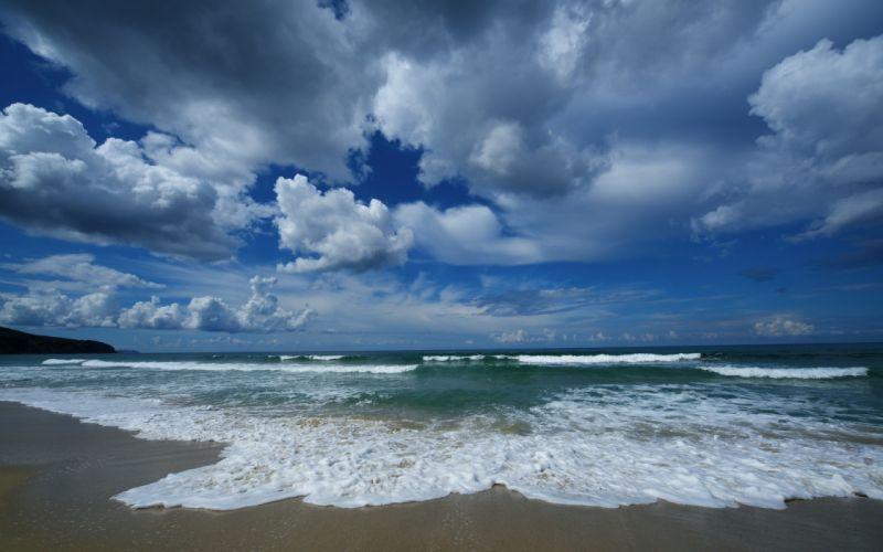 ocean sea waves sky clouds wallpaper