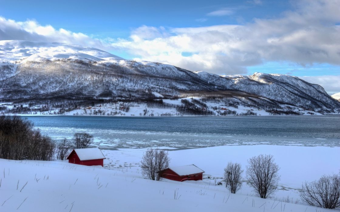 landscapes winter snow frozen ices architecture buildings houses cabin mountains sky clouds wallpaper