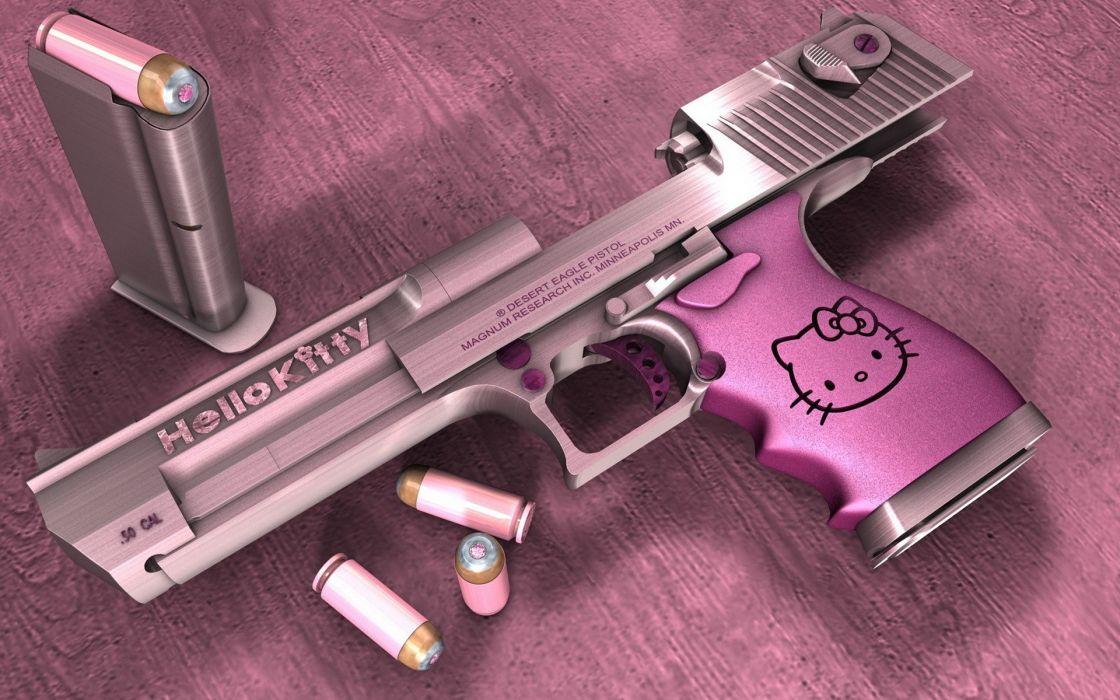 Hello Kitty Desert Eagle 50 calibur amoo bullets ammunition cat cartoon wallpaper