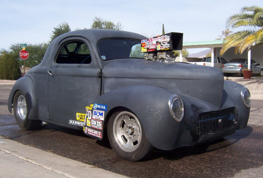 WILLYS COUPE drag racing hot rod engine blown blower retro classic wallpaper