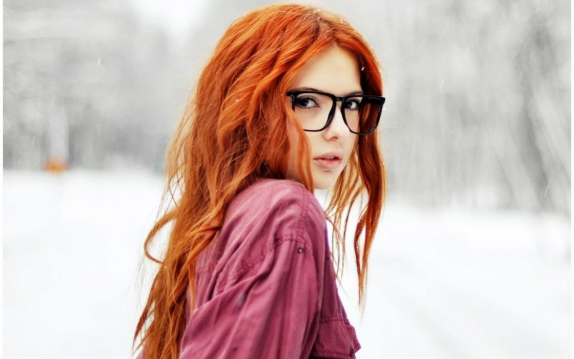 women models redhead babes winter glasses pov face wallpaper