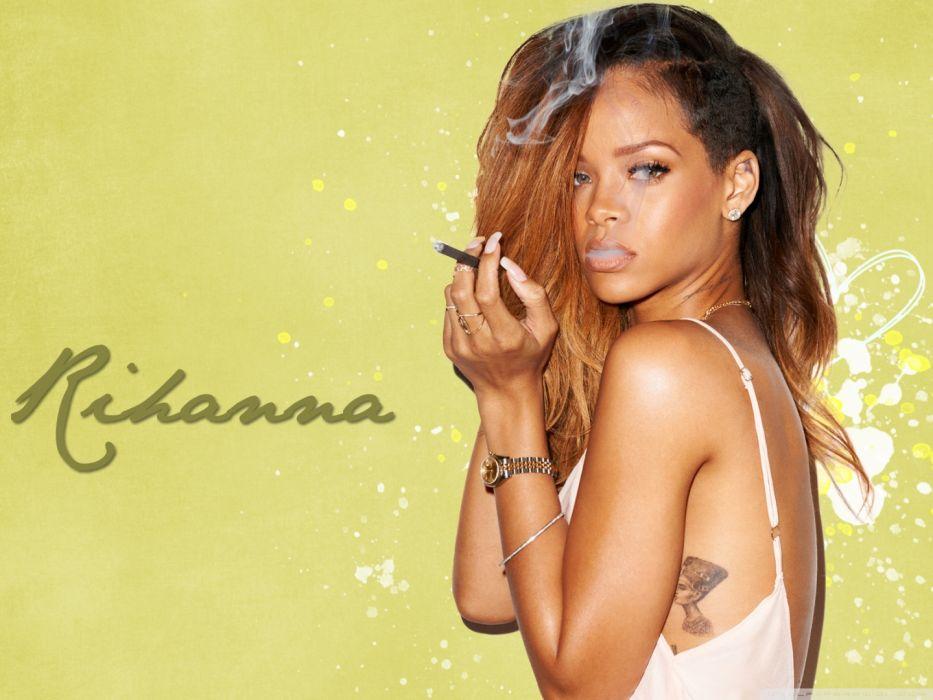 Rihanna smoking singer celebrity music wallpaper