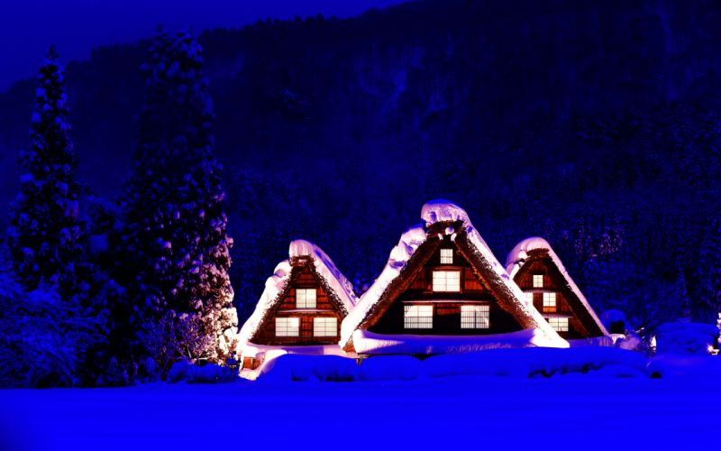 houses cabin landscapes winter snow christmas wallpaper