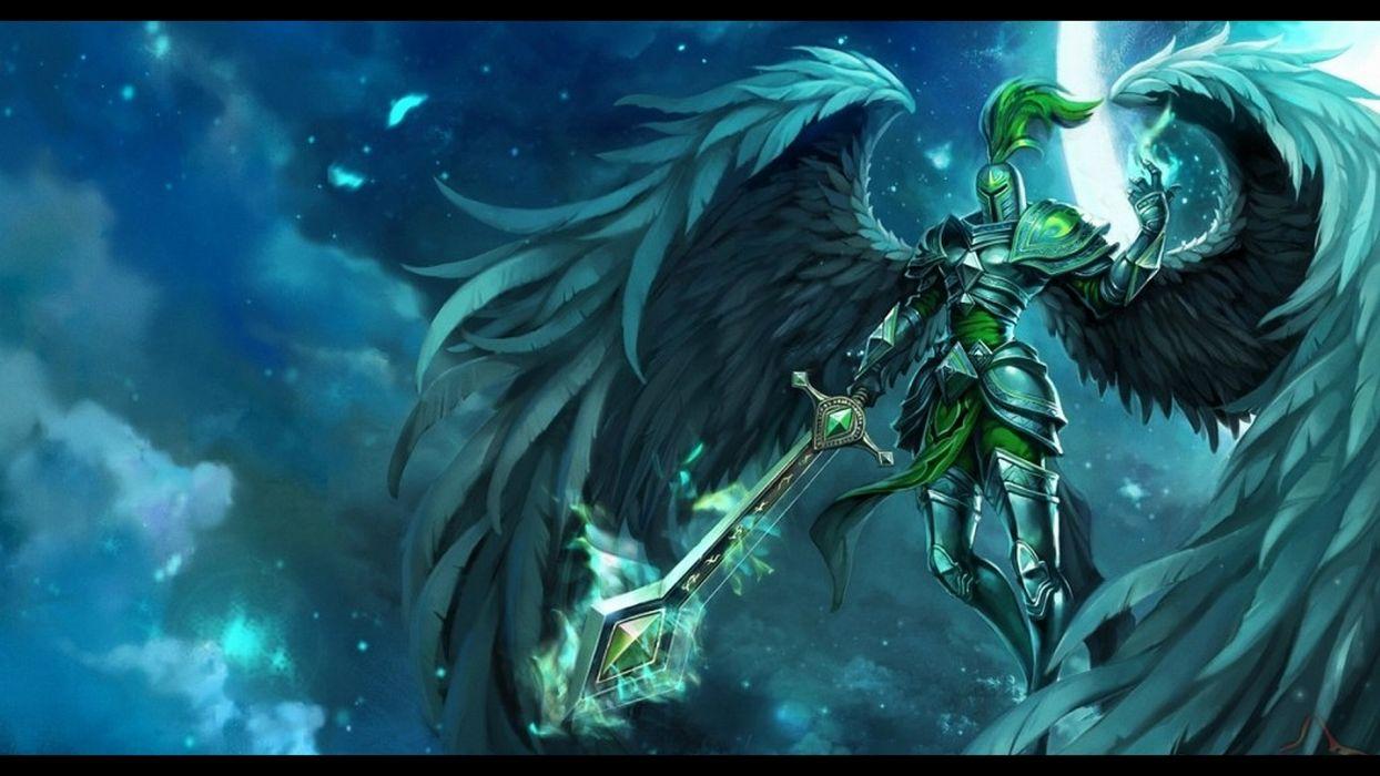 League of Legends fantasy art warriors angels magic armor wallpaper