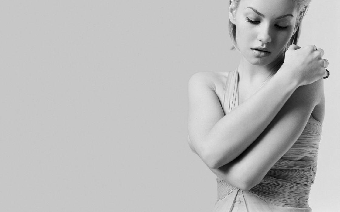 Elisha Cuthbert actress women blondes sexy babes black white wallpaper