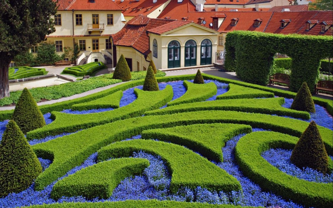garden landscapes flowers architecture wallpaper
