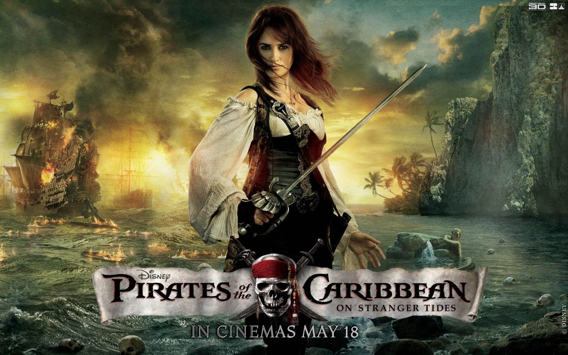 pirates of the caribbean fanatsy women weapons swords wallpaper