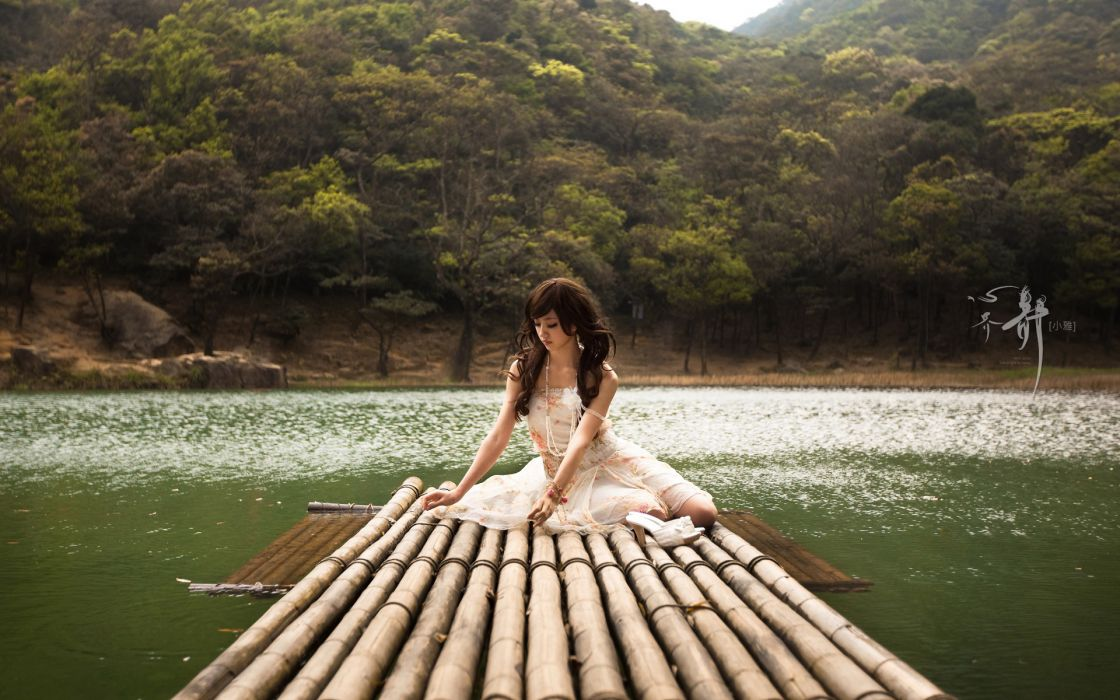 asian oriental mood lakes women models brunettes babes wallpaper
