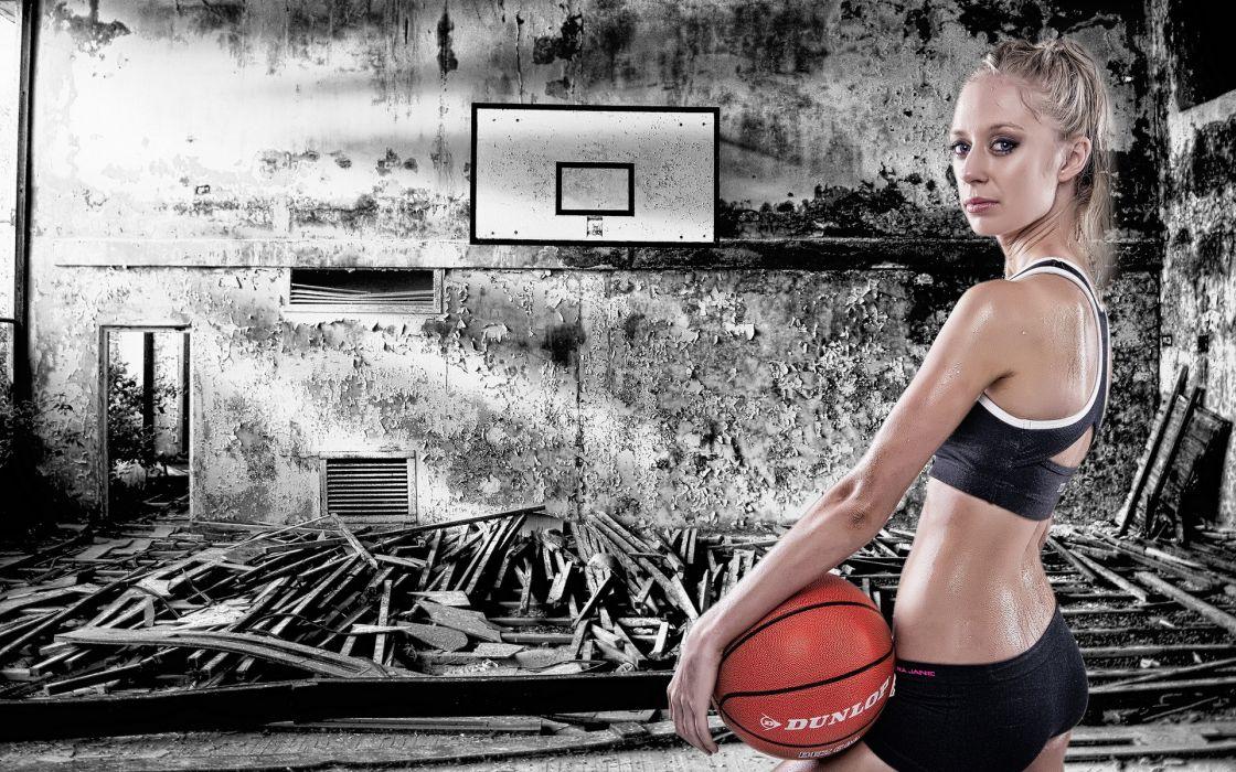 basketball women models blondes sexy babes fitness wallpaper