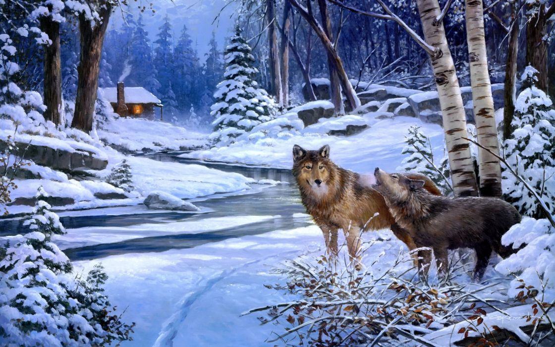 wolves wolf art paintings landscapes winter snow rivers cabin houses rustic trees forest woods wallpaper