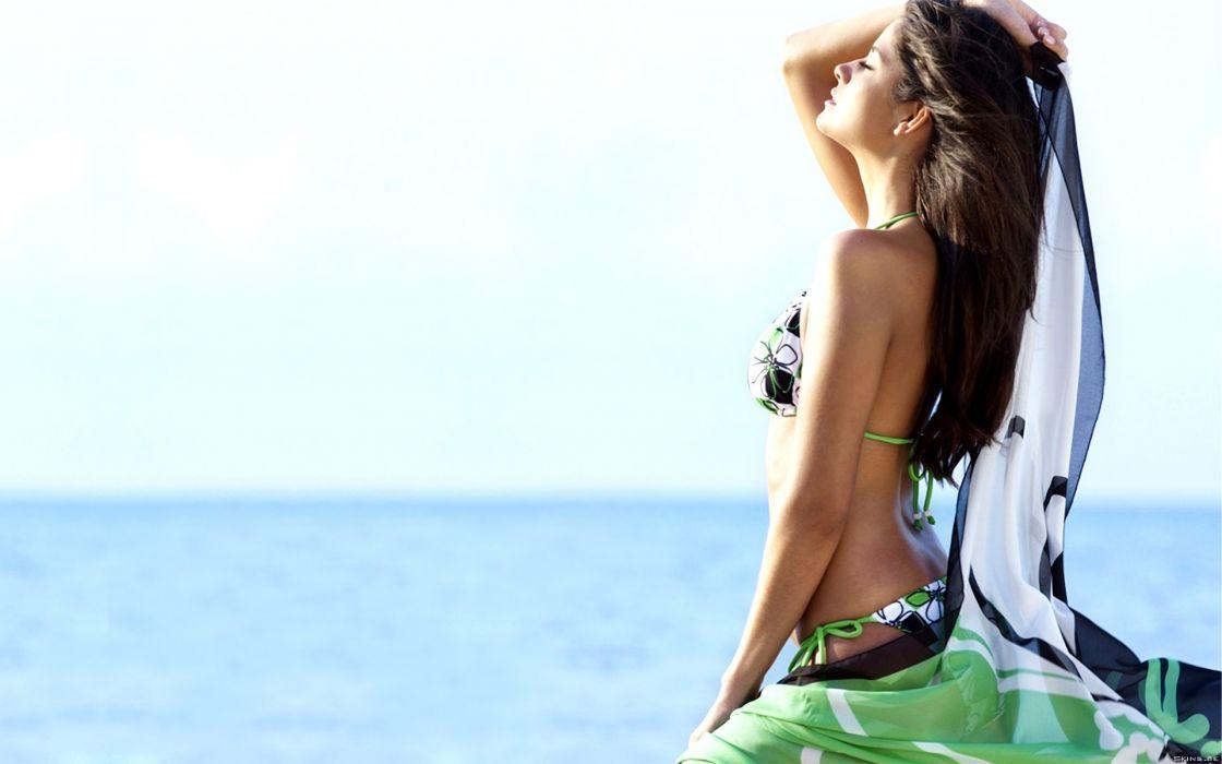 Carla Ossa women fashion glamour models brunettes sexy babes bikini swimwear wallpaper