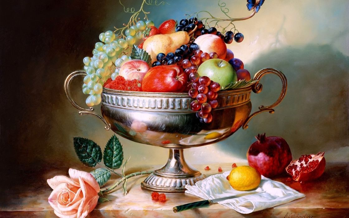 art paintings still life fruit apples berry grapes wallpaper