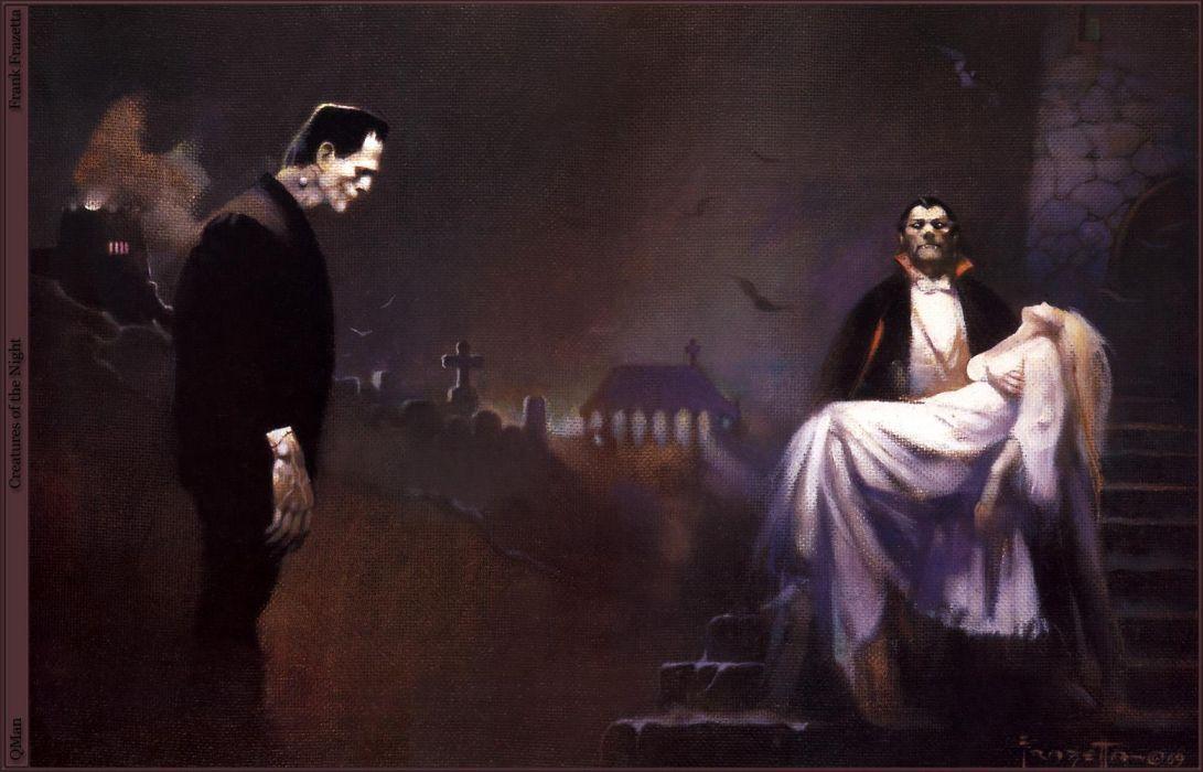 Frank Frazetta horror monsters vampires gothic franken wallpaper