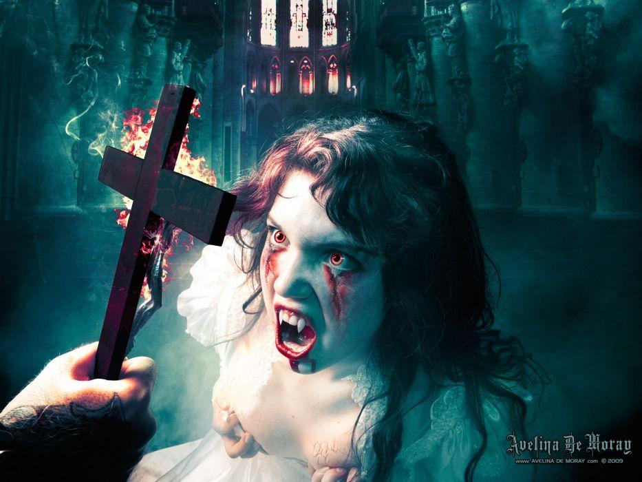 Avelina De Moray dark horror vampires halloween evil cross women girl blood wallpaper
