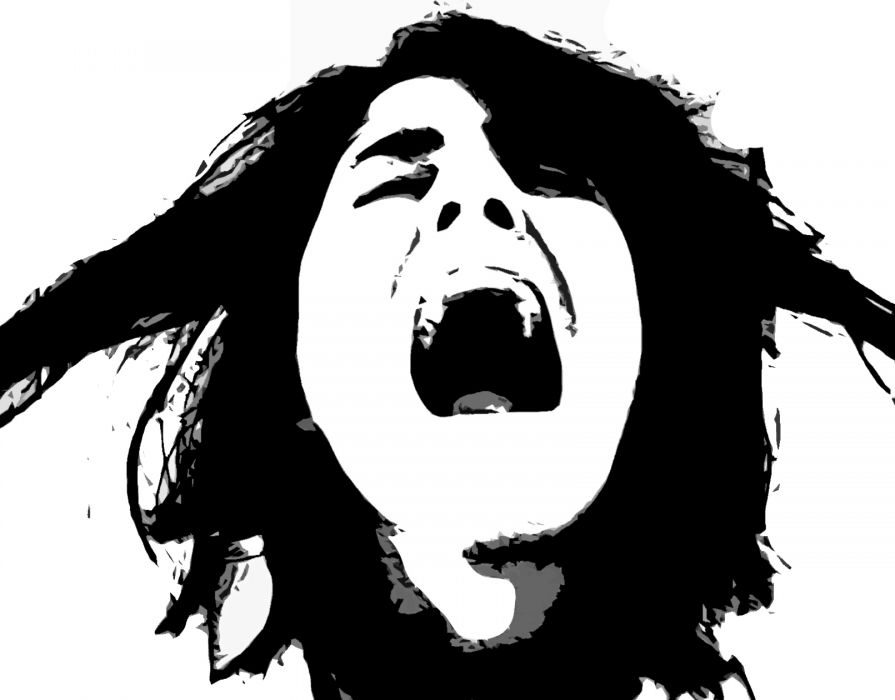emo scream mood emotion girl sad sorrow face black white vector wallpaper