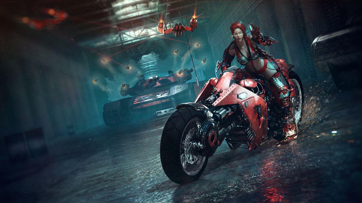 Dubstep sci-fi 3d motorcycle bike warrior weapons guns tanks cyberpunk punk women girl wallpaper
