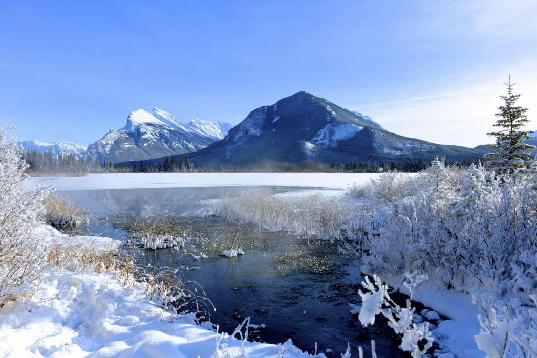 landscapes winter mountains wallpaper