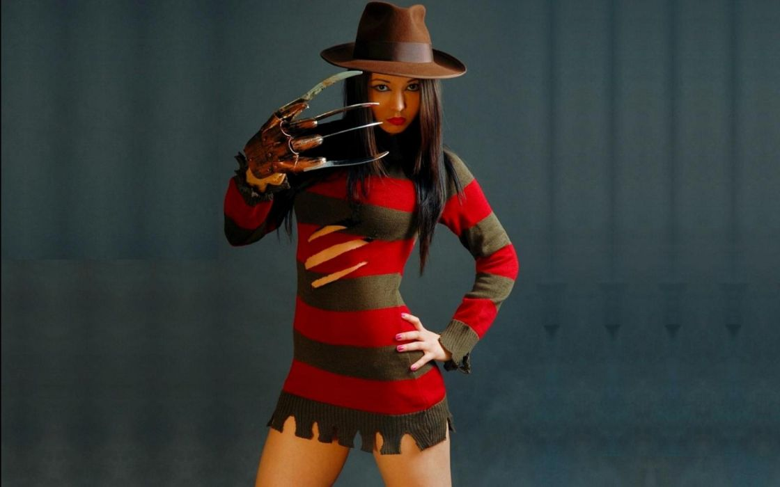 Freddy Krueger movies dark cosplay women models sexy babes costume uniform wallpaper