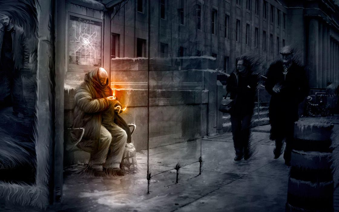 Matchseller Rain Art people mood scary cities wallpaper