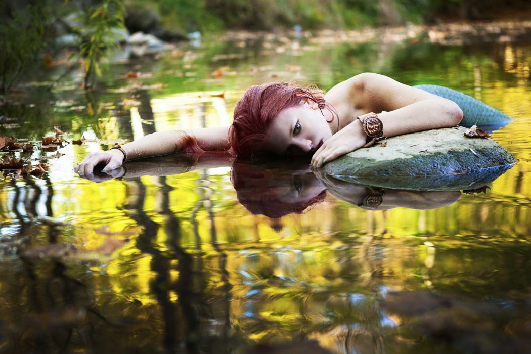 fantasy mermaids lakes women models mood redheads sexy babes wallpaper
