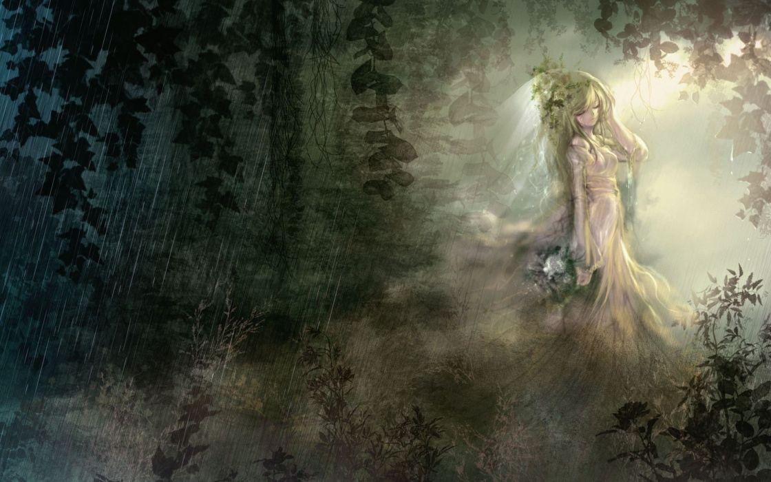 original art girl mood trees forest woods wallpaper