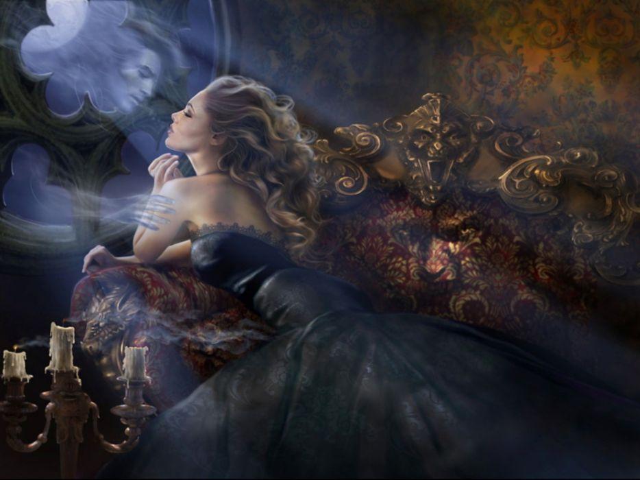 love romance ghost mirror sad sorrow women blondes art fantasy wallpaper